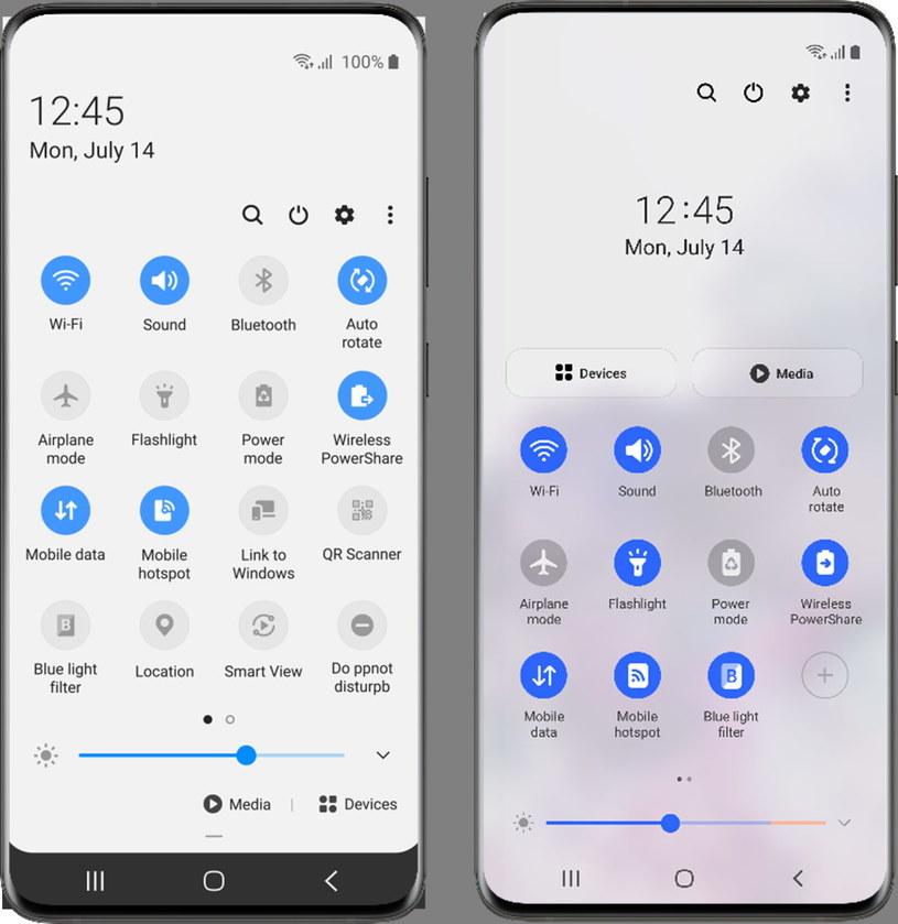 Panel szybkiego dostępu oferowany w ramach One UI 3 (po prawej) został udoskonalony w porównaniu z wersją dostępną w One UI 2 (po lewej) /materiały prasowe