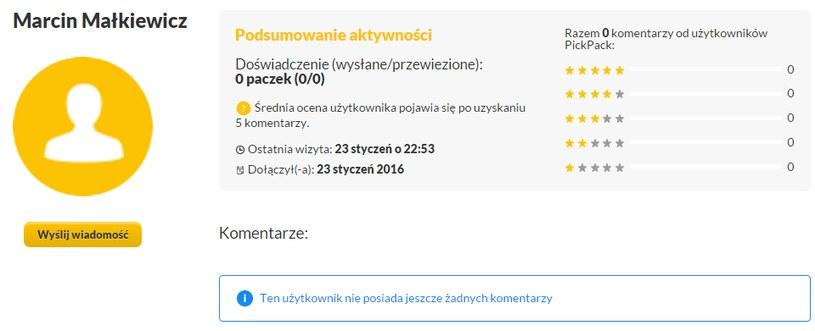 Panel użytkownika (wraz z ocenami, komentarzami) /materiały promocyjne