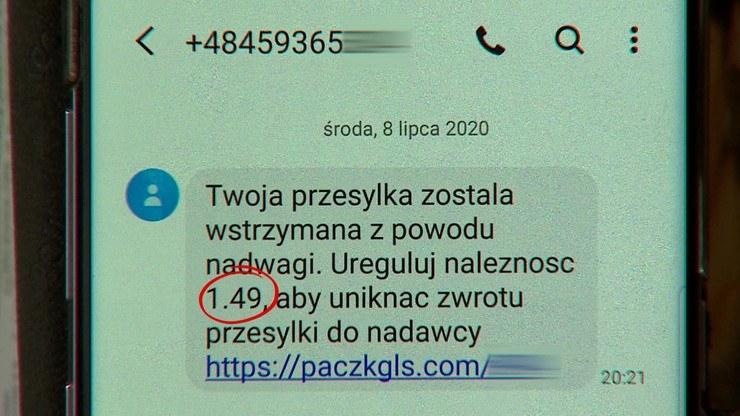 Pani Dominika dostała SMS, że jej przesyłka przekroczyła wagę, i żeby dopłaciła 1,49 zł /