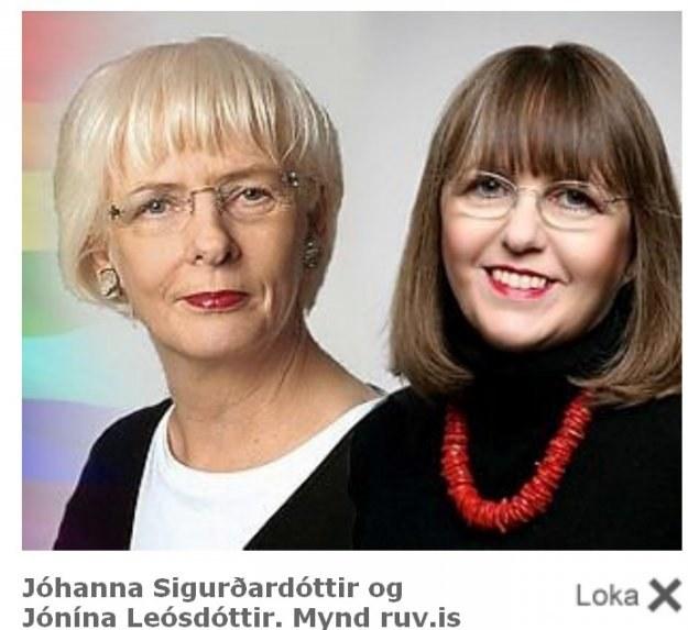 """Pani premier (z lewej) i jej żona / Ze strony """"Skutull.is"""" /"""