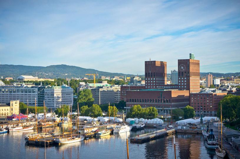 Panorama miasta, w tle ratusz z dwiema wieżami /123RF/PICSEL