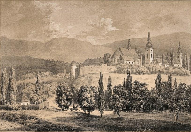 Panorama Starego Sącza z widocznym klasztorem klarysek. Rysunek Napoleona Ordy (domena publiczna) /Ciekawostki Historyczne