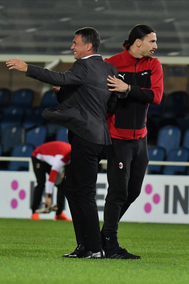 Paolo Maldini i Zlatan Ibrahimovic /PAOLO MAGNI  /PAP/EPA