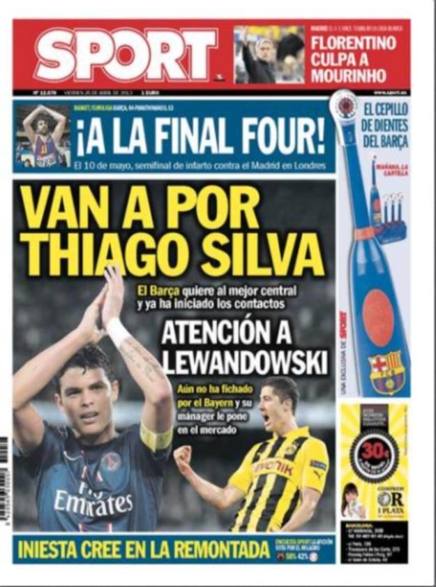 """Papierowe wydanie """"Sportu"""" proponuje, by Barca kupiła Lewandowskiego, a nie tylko Silvę z PSG. /INTERIA.PL"""