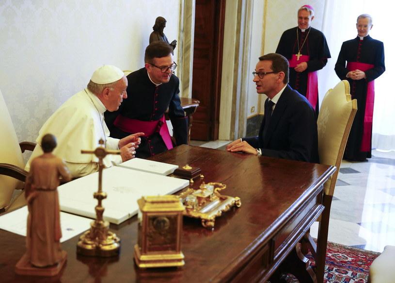 Papież Franciszek i premier Mateusz Morawiecki /TONY GENTILE /PAP/EPA