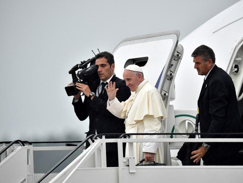 Papież Franciszek na lotnisku w Balicach /Radek Pietruszka /PAP