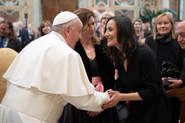 Papież Franciszek podczas spotkania z dziennikarzami /VATICAN MEDIA HANDOUT /PAP/EPA