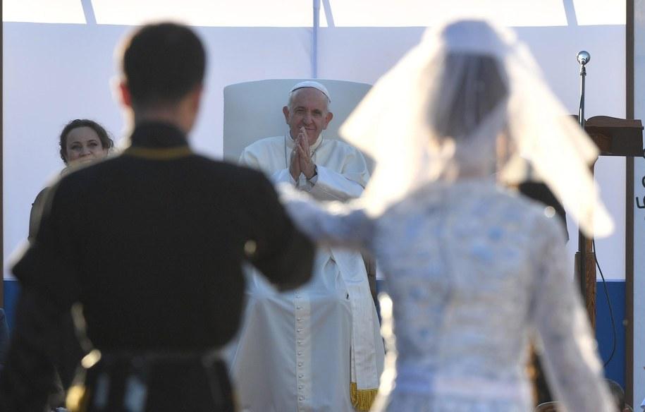 Papież Franciszek podczas wizyty w Gruzji /LUCA ZENNARO /PAP/EPA