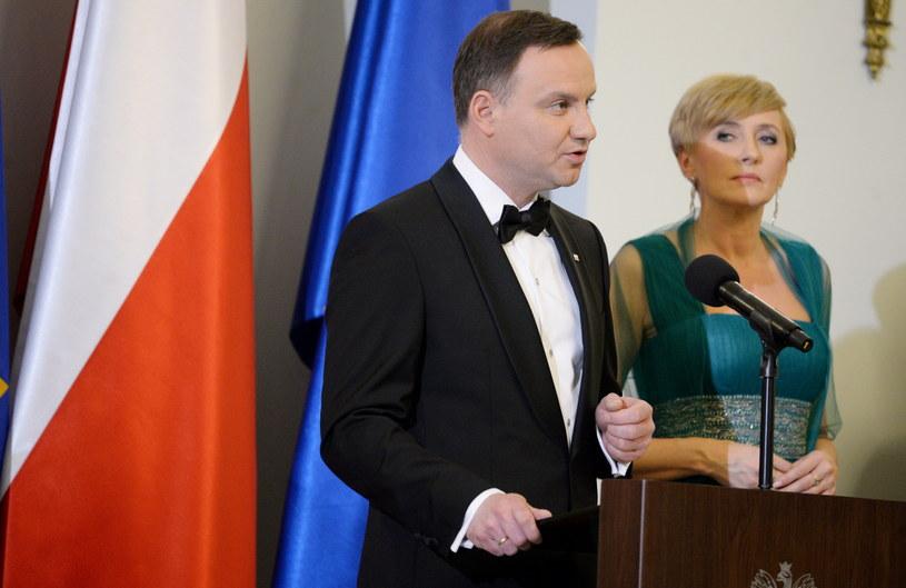 Para prezydencka podczas noworocznego spotkania /Jacek Turczyk /PAP