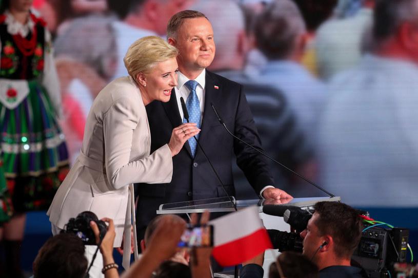Para prezydencka w trakcie wieczoru wyborczego /fot. Andrzej Iwanczuk /Reporter