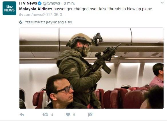 Pasażerowie samolotu długo nie zapomną tego lotu /Twitter