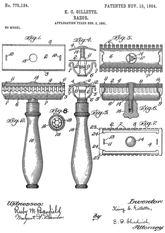 Patent Gillette'a na maszynkę do golenia /materiały prasowe
