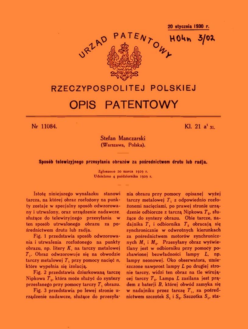 Patent na nadawanie telewizji nr 11084 z 1929 roku /domena publiczna