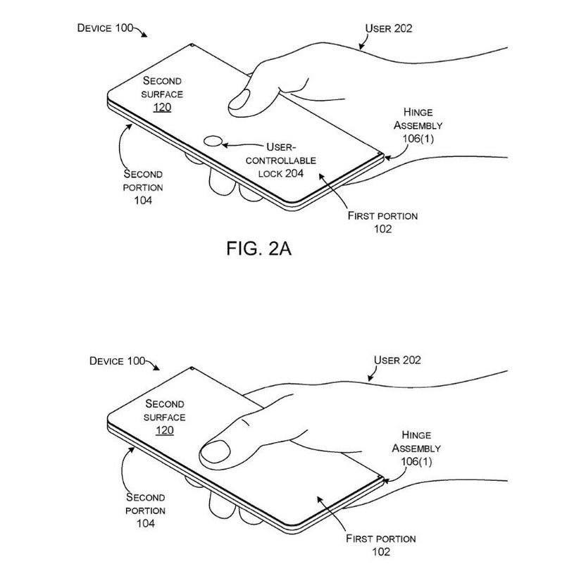 Patent składanego smartfona Microsoftu / fot. USPTO /materiał zewnętrzny
