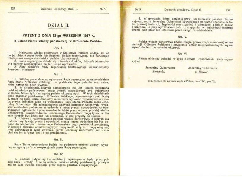 Patent ustanawiający Radę Regencyjną /Archiwum Akt Nowych