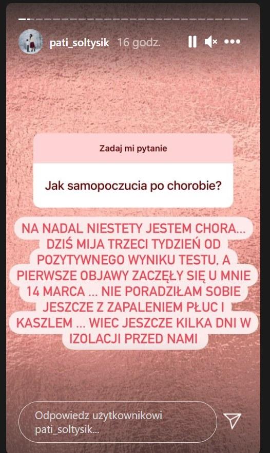 Patrycja Sołtysik wyjawiła na Instagramie, jak się czuje. Screen pochodzi z https://www.instagram.com/pati_soltysik/?hl=pl /Instagram/pati_soltysik /Instagram