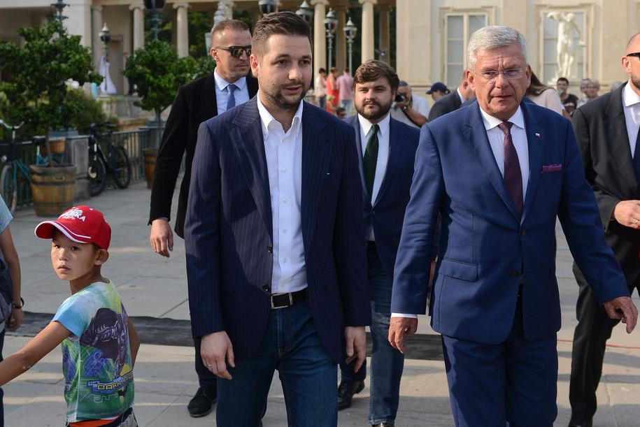 Patryk Jaki i Stanisław Karczewski /Jakub Kamiński   /PAP