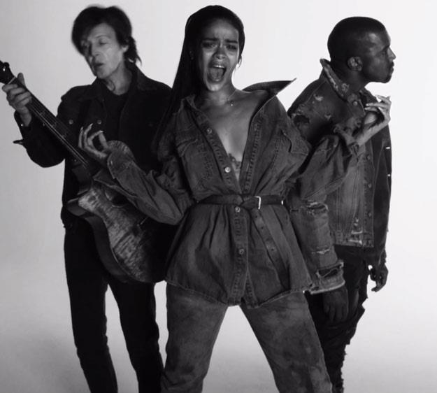 """Paul McCartney, Rihanna i Kanye West w klipie """"FourFiveSeconds"""" /"""
