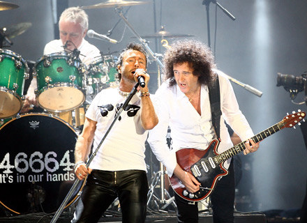 Paul Rodgers i Brian May, z tyłu Roger Taylor (Queen) - fot. Gareth Cattermole /Getty Images/Flash Press Media