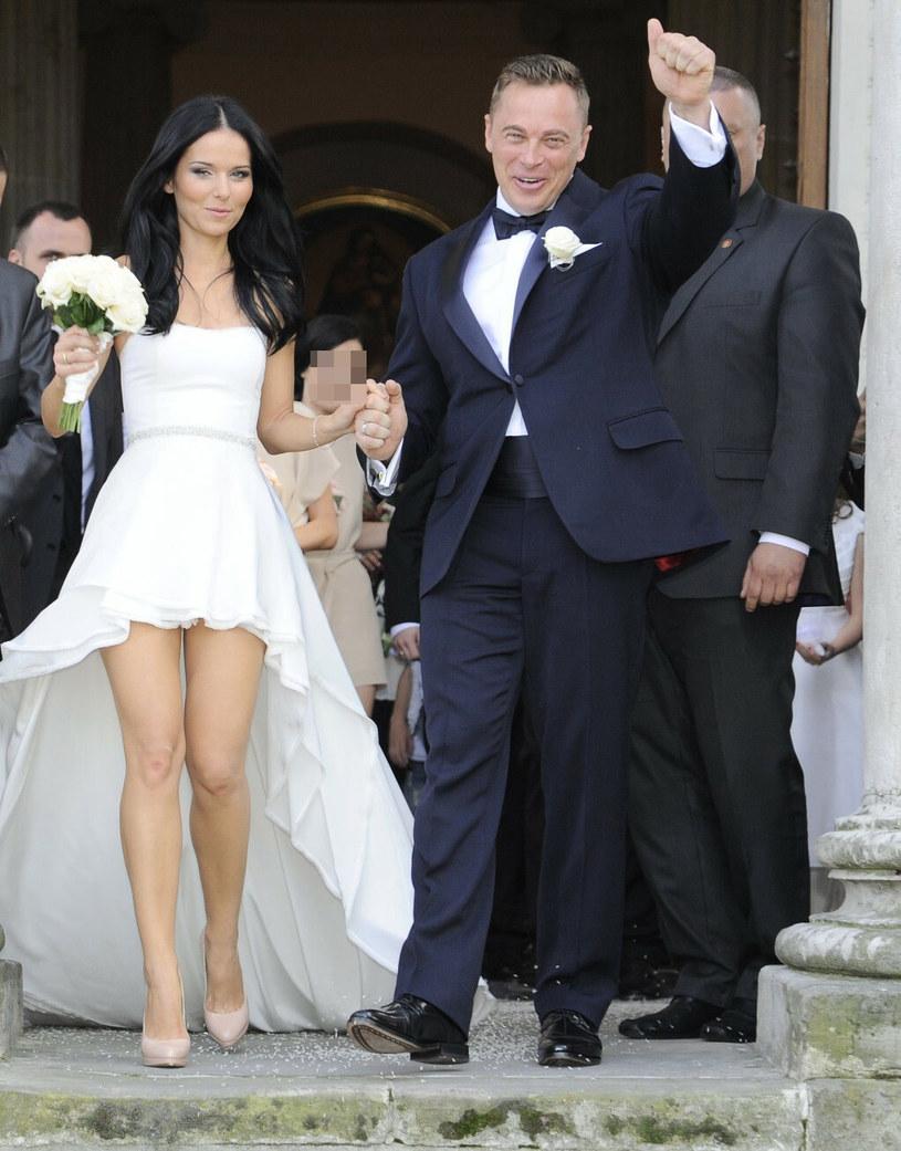 Paulina Sykut z mężem w dniu ślubu /Tricolors /East News