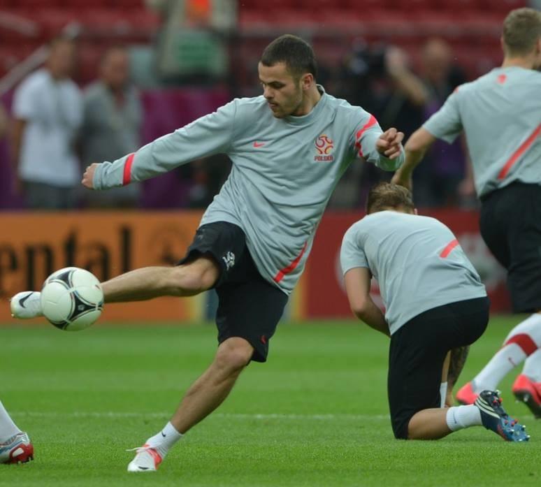 Paweł Brożek na zgrupowaniu reprezentacji Polski podczas Euro 2012. /AFP