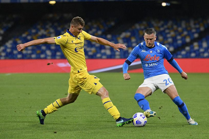 Paweł Dawidowicz i Piotr Zieliński w meczu Napoli - Hellas /Fabrizio Corradetti /East News