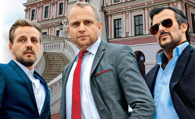 Paweł Domagała, Piotr Adamczyk i Bartosz Opania /Tele Tydzień