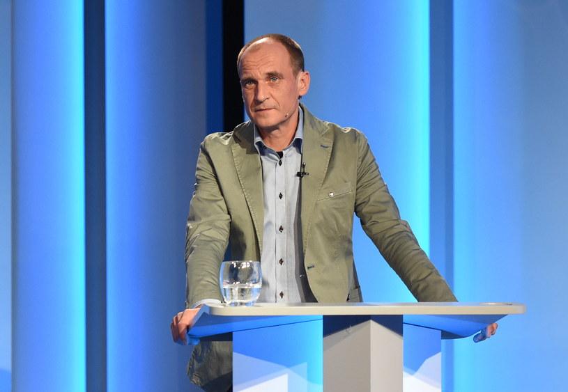 Paweł Kukiz podczas debaty prezydenckiej /Radek Pietruszka /PAP