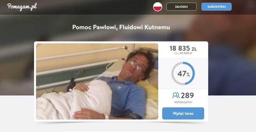 Paweł Kutny potrzebuje pomocy (Screen: www.pomagam.pl) /materiał zewnętrzny
