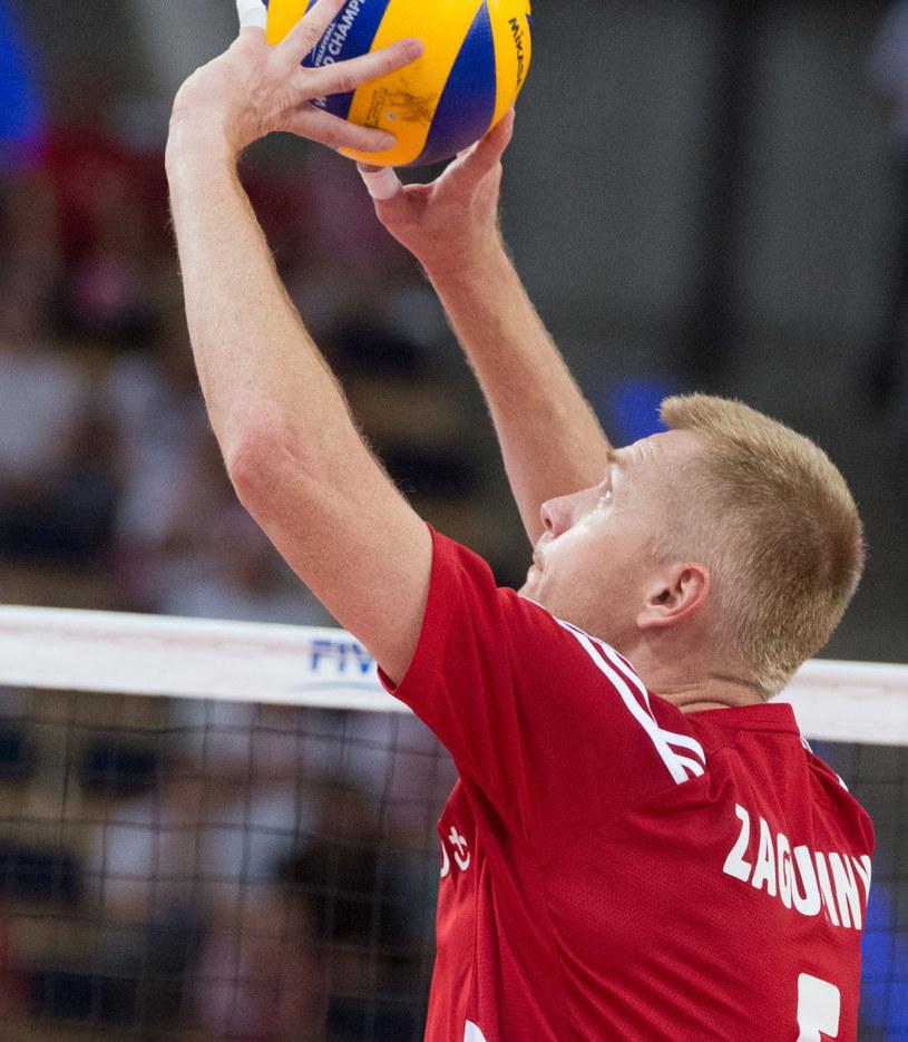 Paweł Zagumny podczas meczu z USA /Grzegorz Michałowski /PAP
