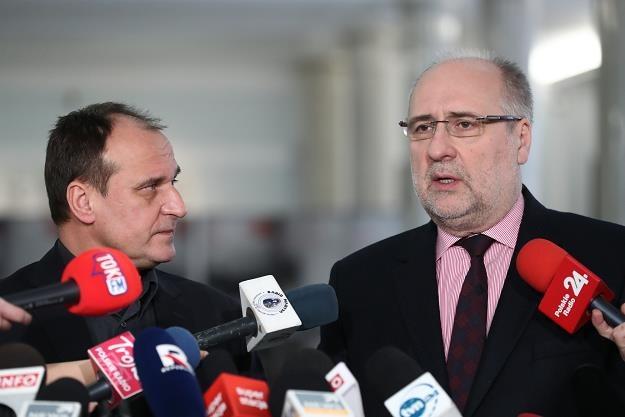 Pawł Kukiz (L) i Grzegorz Długi w Sejmie. Fot Andrzej Iwańczuk /Reporter