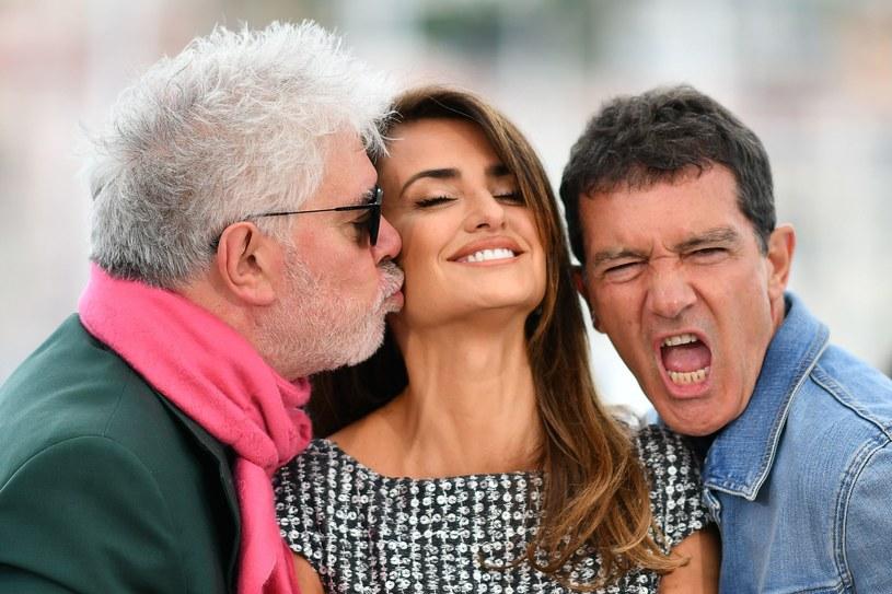 Pedro Almodovar, Penelope Cruz i Antonio Banderas w Cannes 2019 /AFP