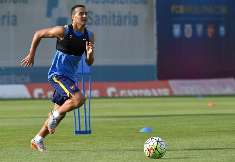 Pedro w trakcie treningu Barcelony /AFP