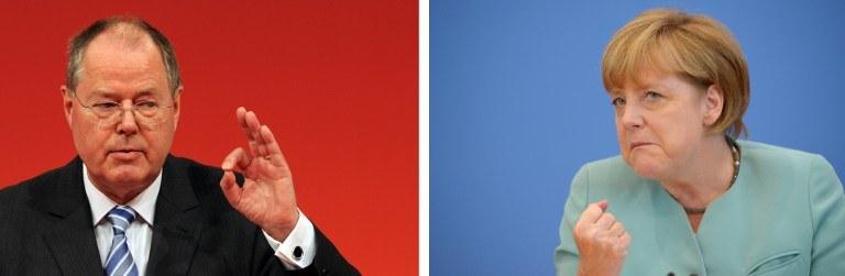 Peer Steinbrueck i Angela Merkel /AFP