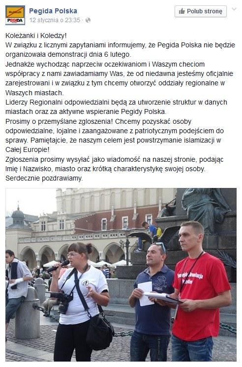 Pegida Polska nie będzie manifestować 6 lutego /facebook.com