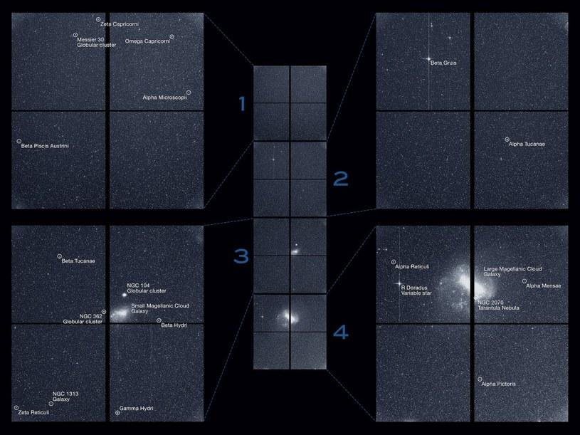 Pełen obraz z czterech kamer teleskopu TESS (oraz prezentacja najjaśniejszych obiektów w polu widzenia) /materiały prasowe