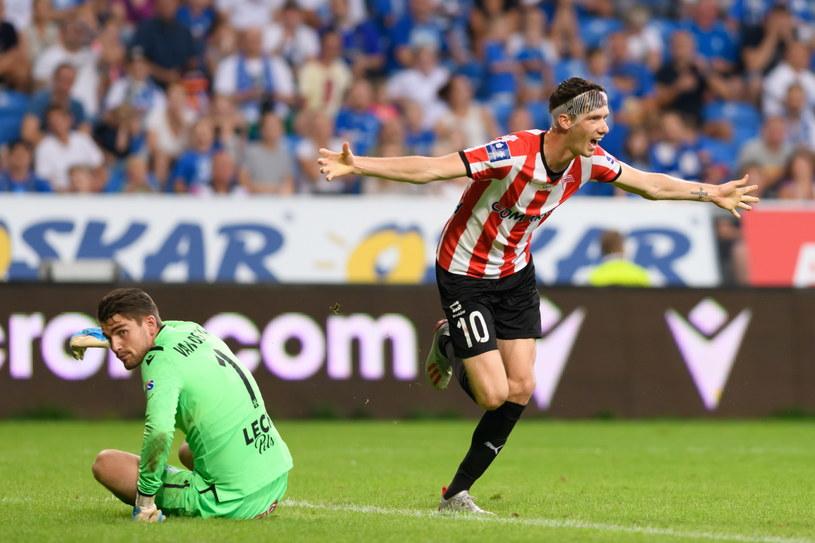 Pelle van Amersfoort  cieszy się z gola w meczu z Lechem Poznań /Jakub Kaczmarczyk /PAP