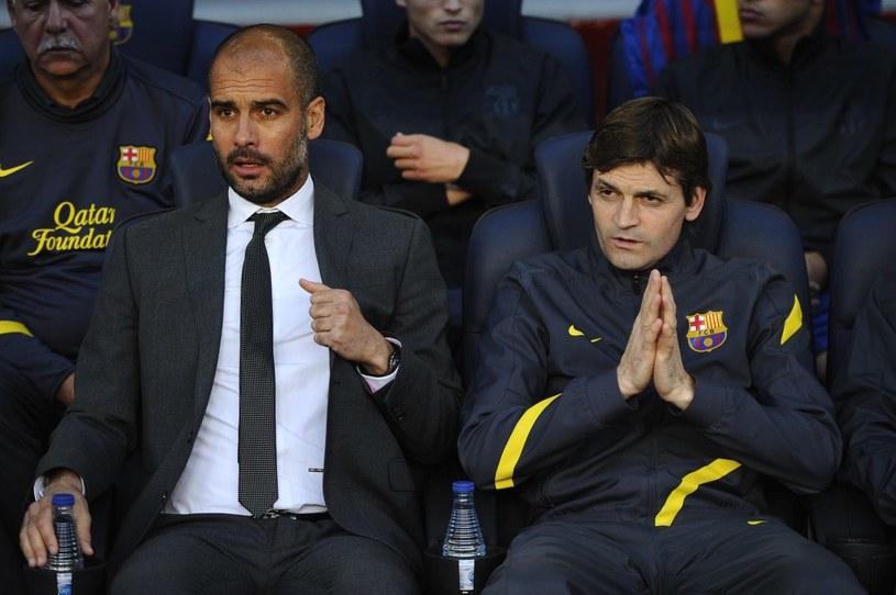 Pep i Tito na ławce Barcelony /Getty Images/Flash Press Media