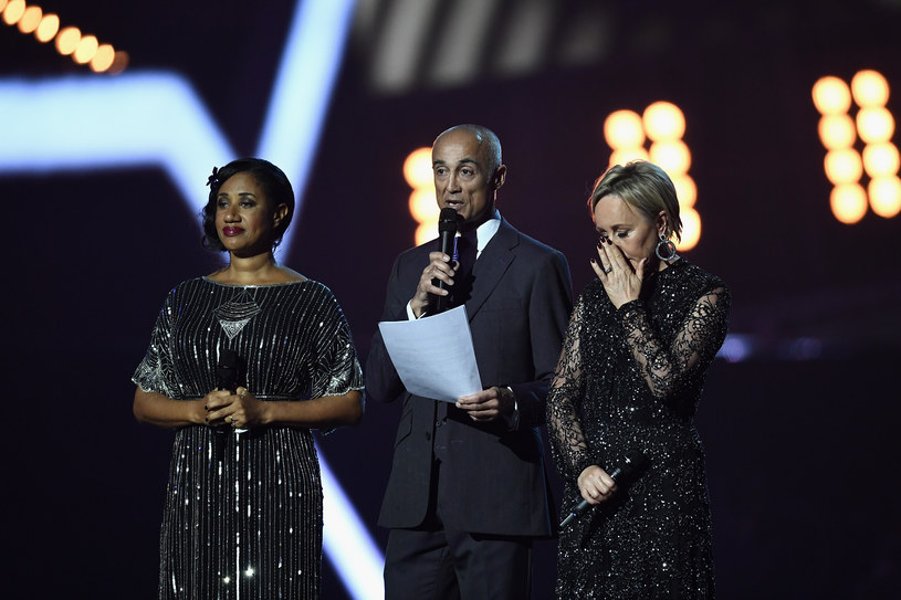 Pepsi DeMacque, Andrew Ridgeley i Shirlie Holliman podczas gali Brit Awards 2017 oddali hołd George'owi Michaelowi /Gareth Cattermole /Getty Images
