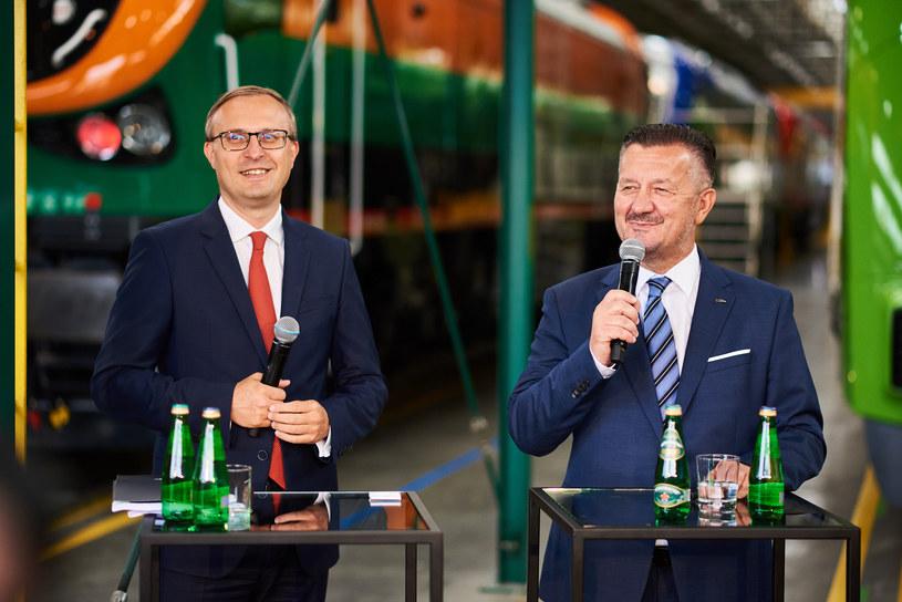 PESA stawia na ekologię. Na zdj. spotkanie z udziałem Pawła Borysa (PFR) i Krzysztofa Zdziarskiego (PESA) /Informacja prasowa
