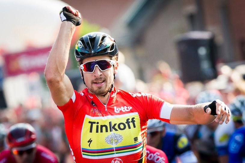 Peter Sagan triumfuje na mecie czwartego etapu Eneco Tour /AFP