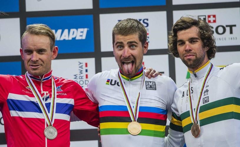 - Peter Sagan (w środku) moze powalczyć o czwarty tytuł - uważa Oscar Freire /AFP