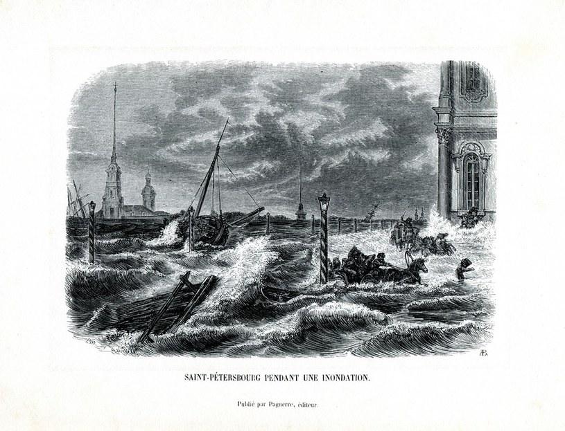 Petersburg w czasie powodzi w 1824 roku /Muzeum Literatury /East News