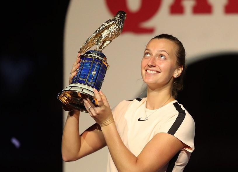 Petra Kvitova cieszy się z wygranej w Dausze /AFP