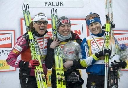 Petra Majdić, Justyna Kowalczyk i Aino Kaisa Saarinen /AFP