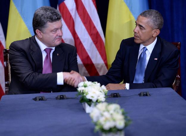 Petro Poroszenko i Barack Obama /Jacek Turczyk /PAP