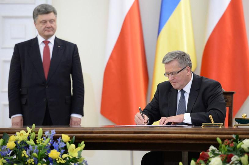 Petro Poroszenko i Bronisław Komorowski /Jacek Turczyk /PAP