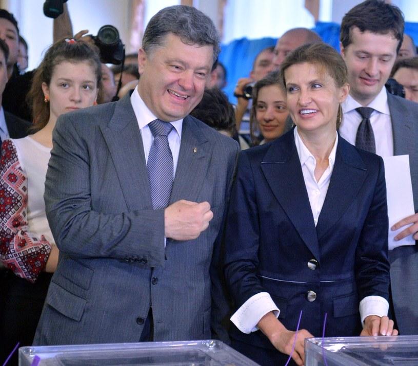 Petro Poroszenko z żoną Mariną w Kijowie /AFP