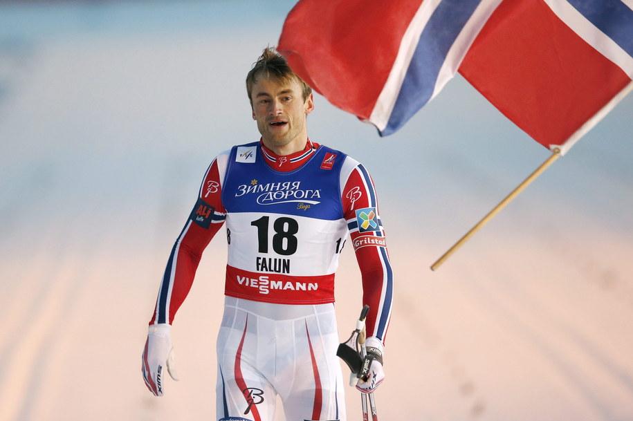 Petter Northug na mecie //PETER KLAUNZER /PAP/EPA