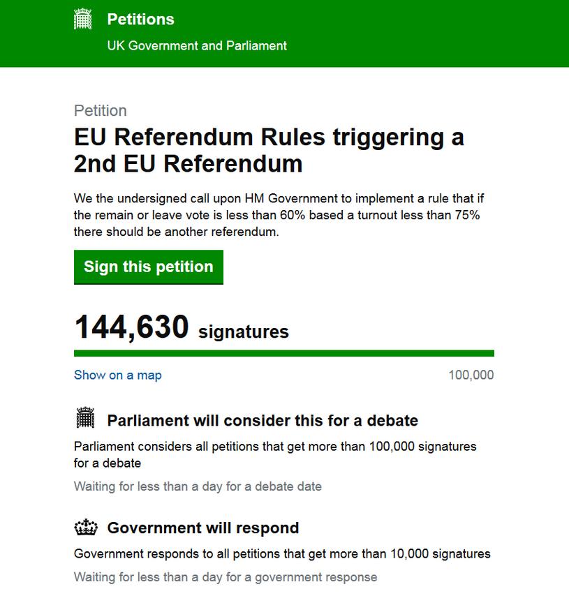 Petycja o przeprowadzenie drugiego referendum ws. Brexitu /petition.parliament.uk /